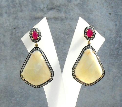 Yellow Sapphire, Ruby & Diamond Gemstone Victorian Earrings