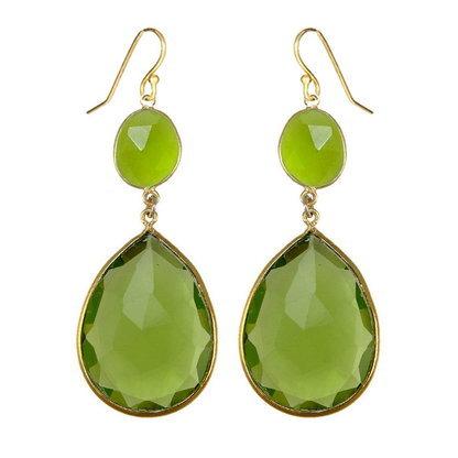 Green Amethyst & Sea Green Chalcedony Gemstone Earring
