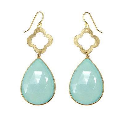 Aqua Chalcedony Gemstone Earring