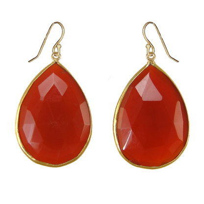 Orange Chalcedony Gemstone Earring