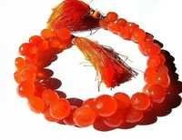 Orange Chalcedony Briolette Gemstone Beads