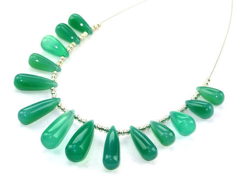 Green Onyx Briolette Gemstone Beads