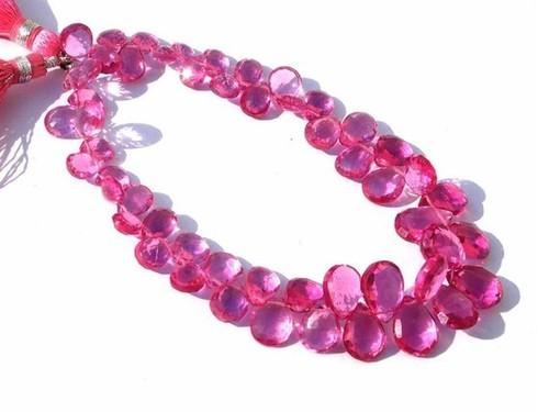 Pink Tourmaline Briolette Gemstone Beads