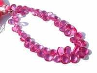 Pink Tourmaline Briolette Gemstone Beads