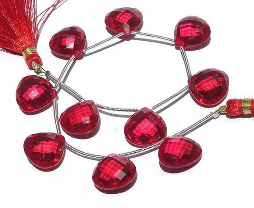 Ruby Briolette Gemstone Beads
