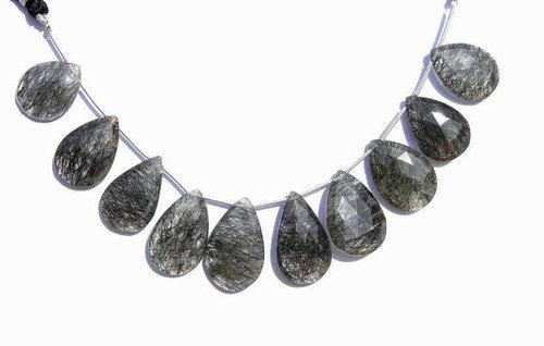 Black Rutile Briolette Gemstone Beads