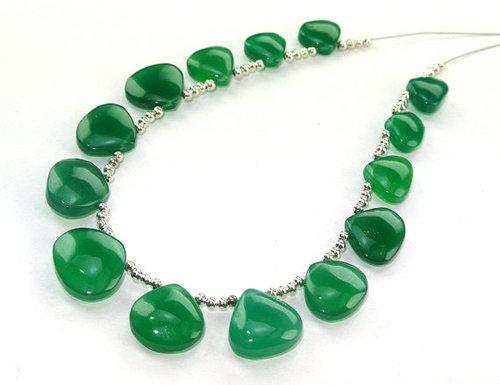Green Onyx Briolette Gemstone Beads