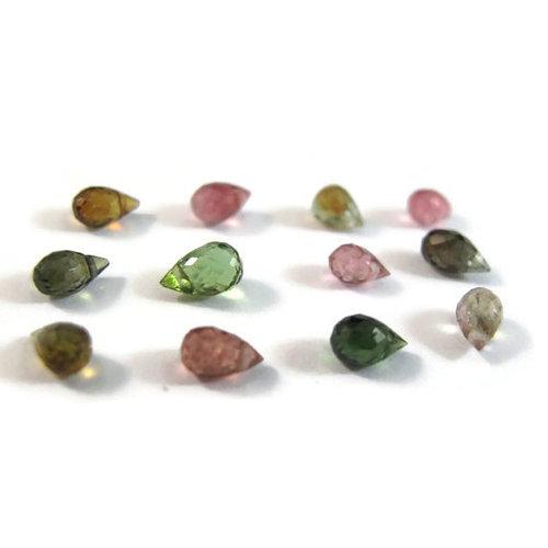 Multi Tourmaline Briolette Gemstone Beads