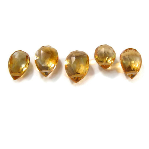 Citrine Briolette Gemstone Beads