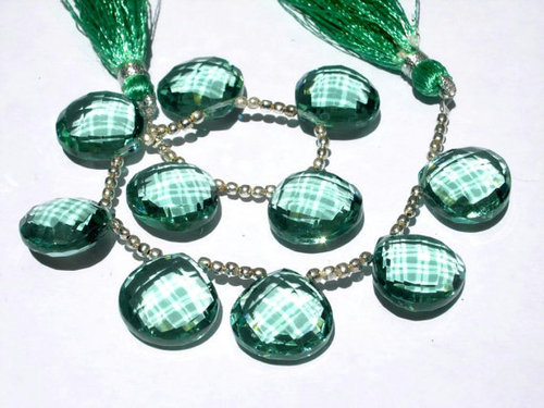 Green Quartz Briolette Gemstone Beads