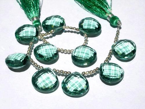 Green Quartz Briolette Gemstone Beads