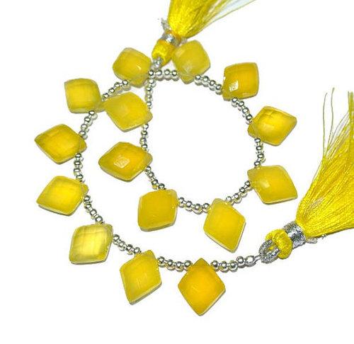 Yellow Chalcedony Briolette Gemstone Beads