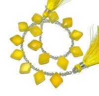 Yellow Chalcedony Briolette Gemstone Beads
