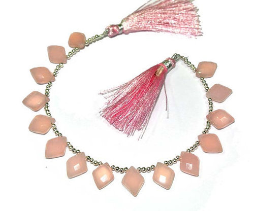 Pink Chalcedony Briolette Gemstone Beads