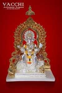 Silver Coated Ganesha Statue