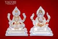 Silver Plated Lakshmi Ganesha Idol