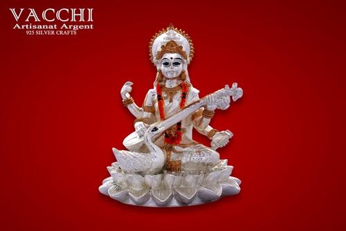Silver Plated Saraswati Statue