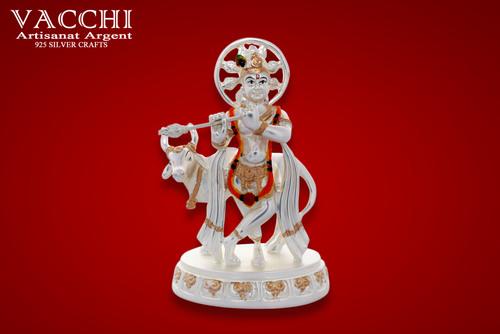 Silver Plated Krishna Idol