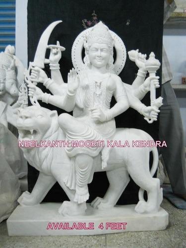 white marble maa durga sculpture