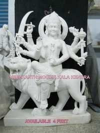 white marble maa durga sculpture