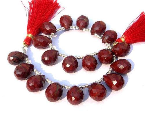 Dyed Ruby Briolette Gemstone Beads