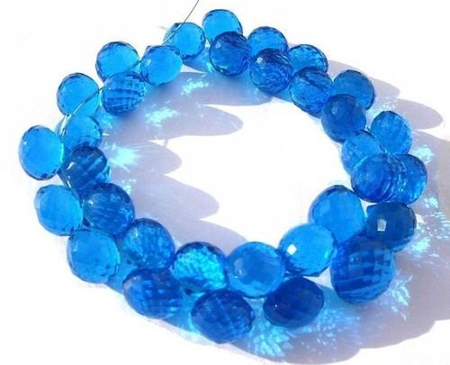 Blue Topaz Briolette Gemstone Beads