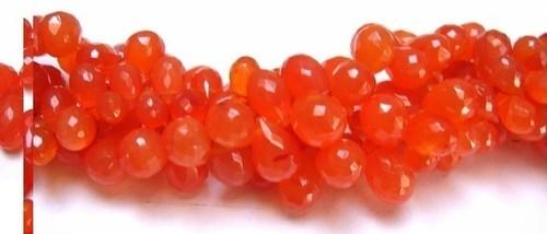 Carnelian Briolette Gemstone Beads