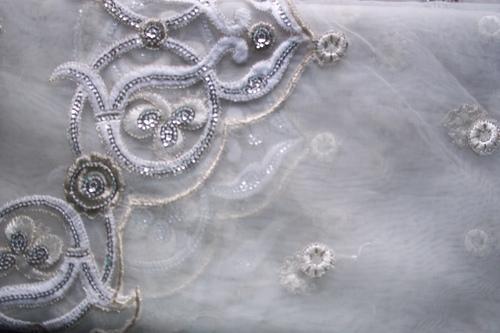 Nylon Viscose Self Jacquard Net Fabric