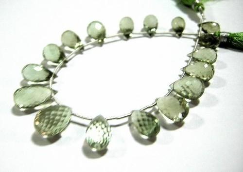 Green Amethyst Briolette Gemstone Beads