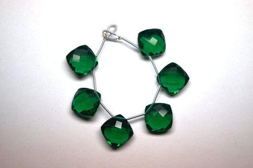 Hydro Emerald Briolette Gemstone Beads