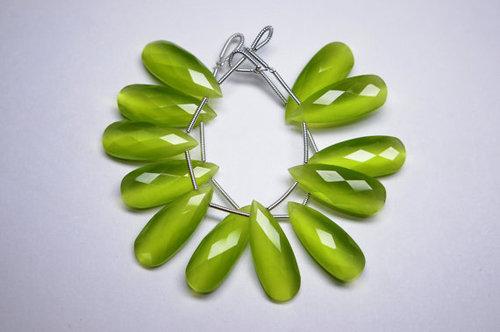 Sea Green Chalcedony Briolette Gemstone Beads