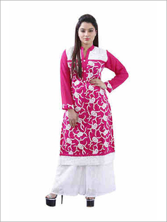Georgette Kurti With White Embroidery