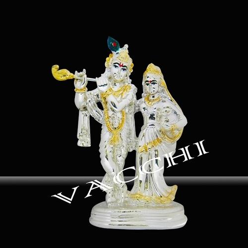 Silver Coated Radha Krishna