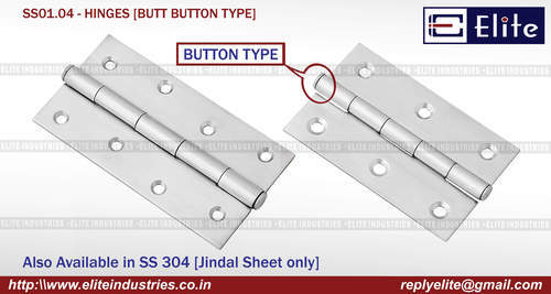 Butt Button Type SS Hinges