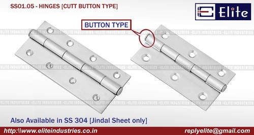 Cut Button Type SS Hinges