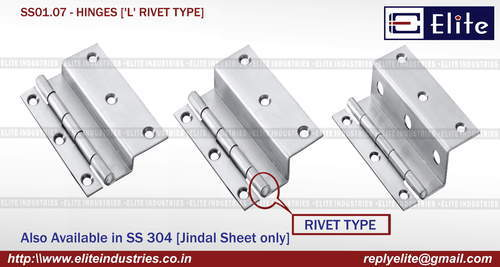 'L' Rivet Type SS Hinges