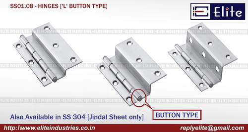 'L' Button Type SS Hinges