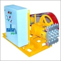 High pressure plunger pump with motor, pully and control panel