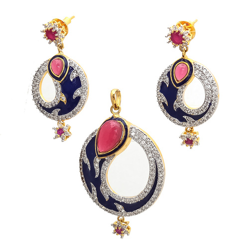 Artificial peacock pendant set