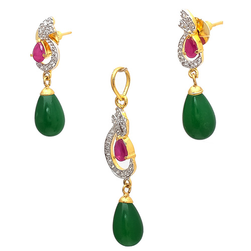 Artificial Pendant Set With Red & Green Gemstone