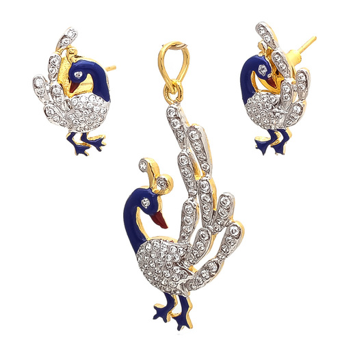 Artificial peacock Traditional pendant set