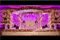 Wedding Crystal Golden Carved Mandap