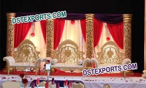 Latest Asian Wedding Golden Carved Furniture Se