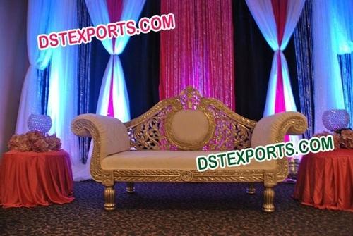 Wedding Golden Carved Love Seater