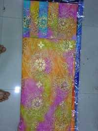 poly dani hand print with motichur wark