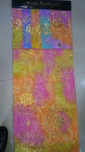 poly dani hand print with motichur wark