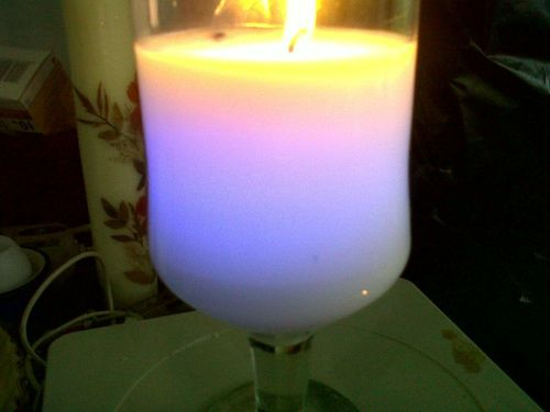 Color Changing Glass Candle