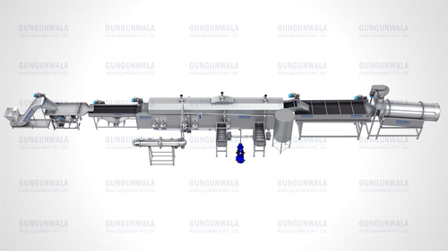 Semi Automatic Potato Chips Frying Line