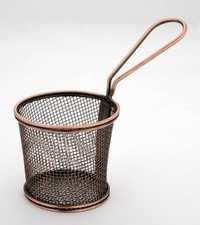 MINI SERVING TAPERED COPPER BASKET ROUND
