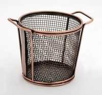 MINI SERVING TAPERED DOUBLE HANDLE COPPER BASKET ROUND